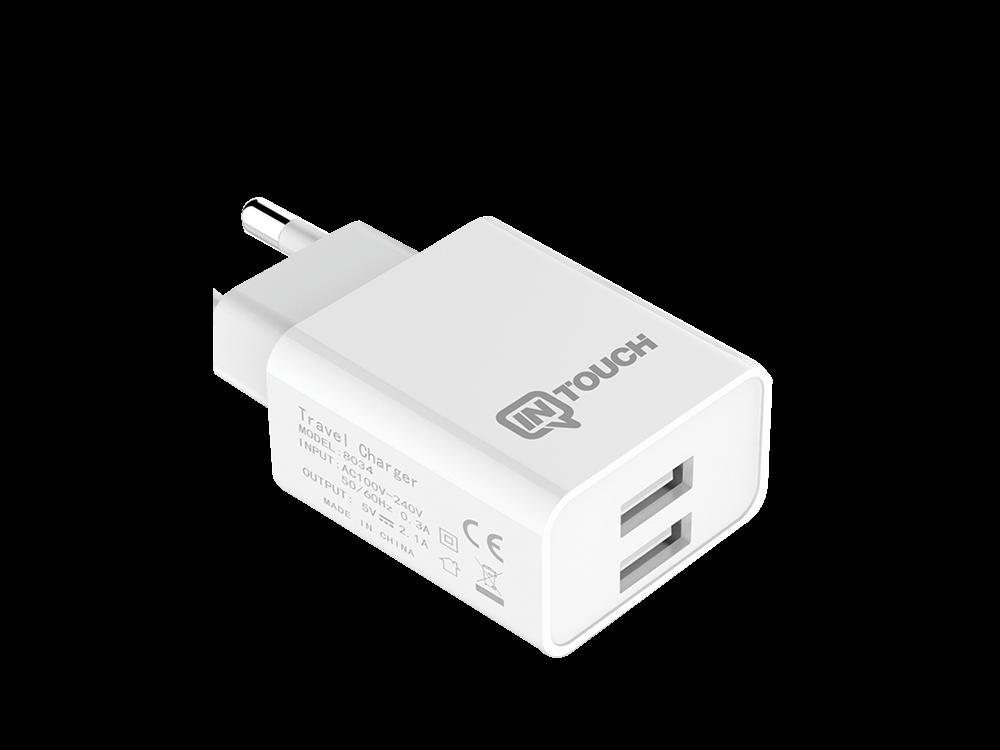 Intouch Type-C Kablolu Hızlı Seyahat Şarj Cihazı 2 USB