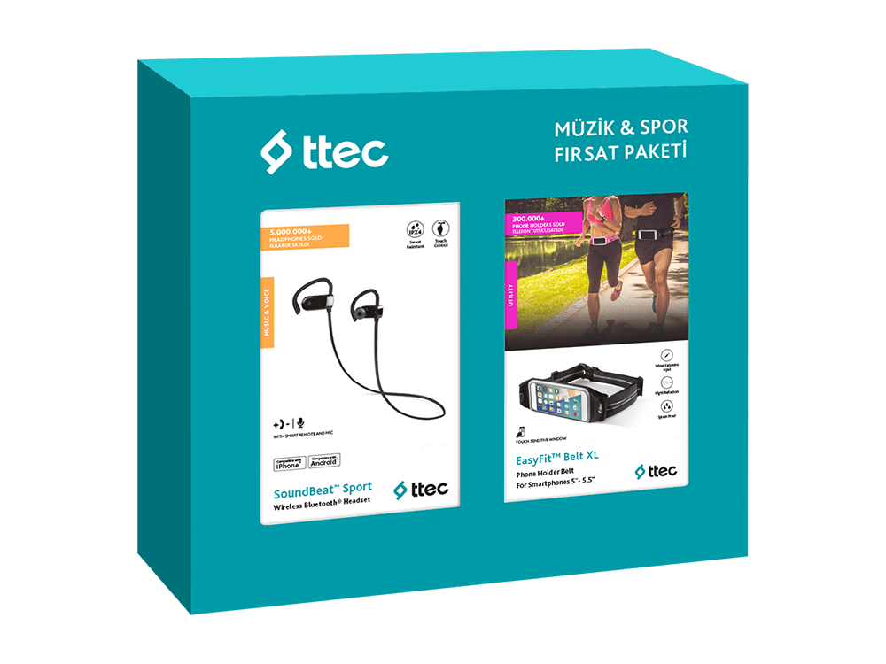Ttec Müzik Spor Fırsat Paketi SoundBeat Sport Kulaklık + EasyFit Belt XL Telefon Cepli Spor Bel Çantası