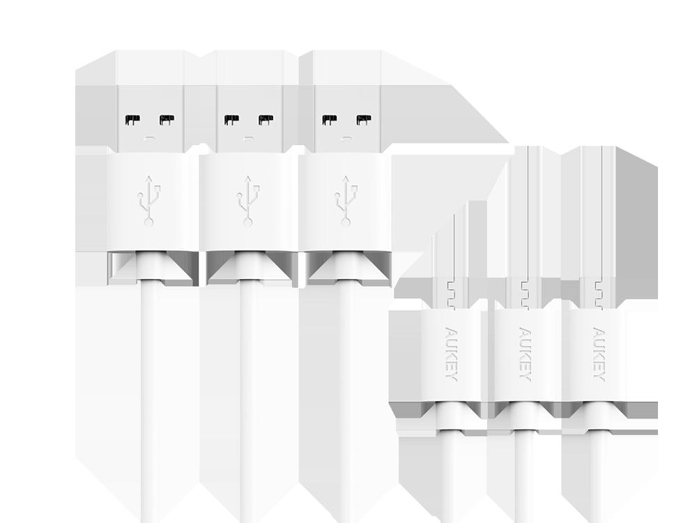 Aukey Micro USB Şarj ve Data Kablosu (3'lü Paket)