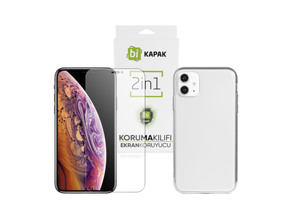 Bikapak 2'si 1 Arada iPhone 11 Şeffaf Kılıf ve Ekran Koruyucu Eco Paket