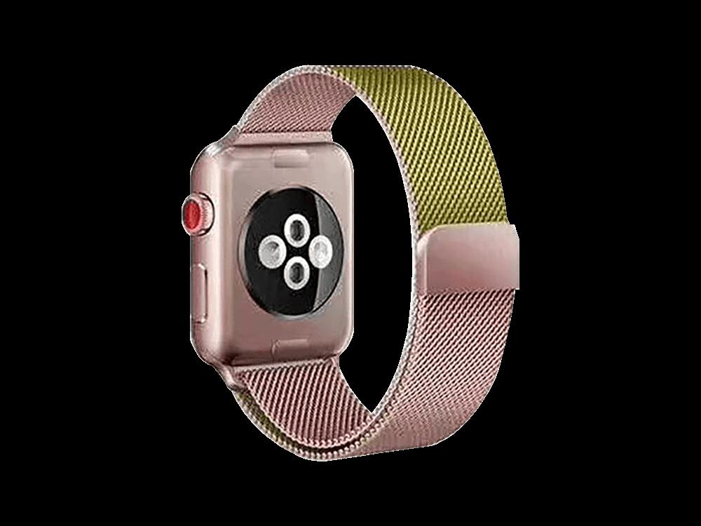 E2M Apple Watch 42-44 mm KRD-02 Çift Renkli Metal Hasır Kordon