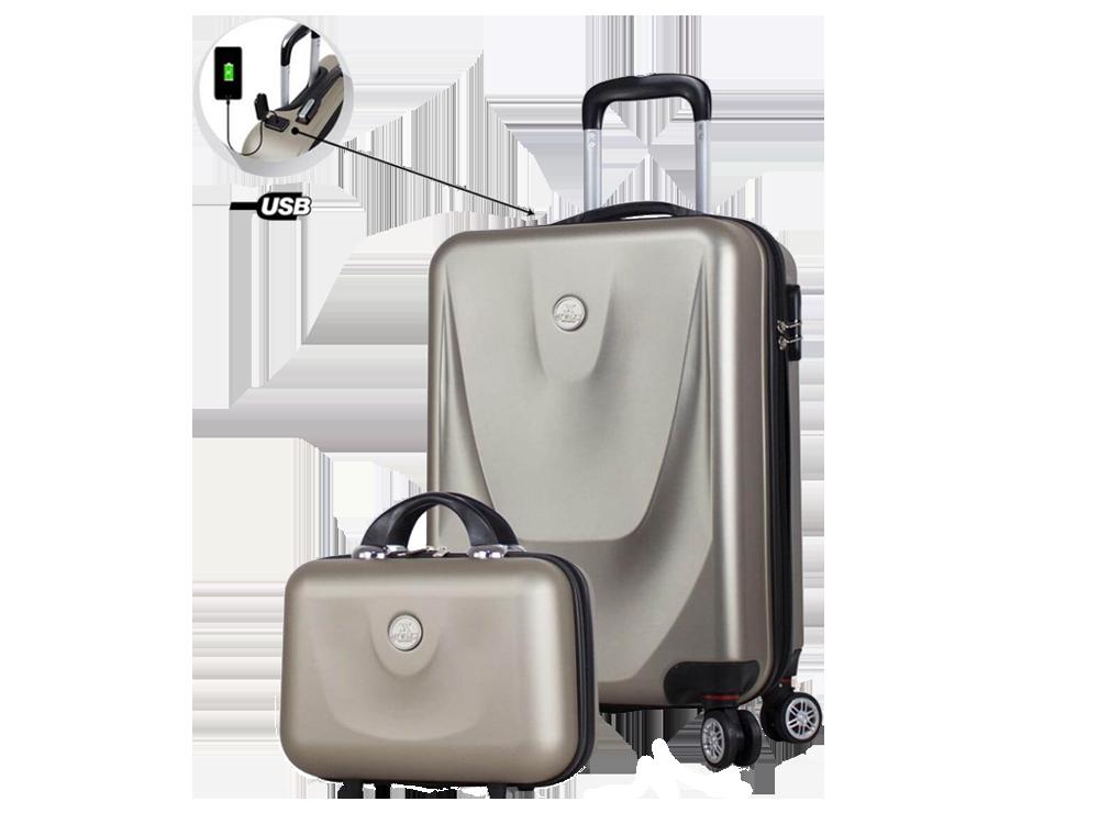 My Valice Smart Bag Energy USB Şarj Girişli 2'li Valiz Seti (Kabin ve Makyaj)