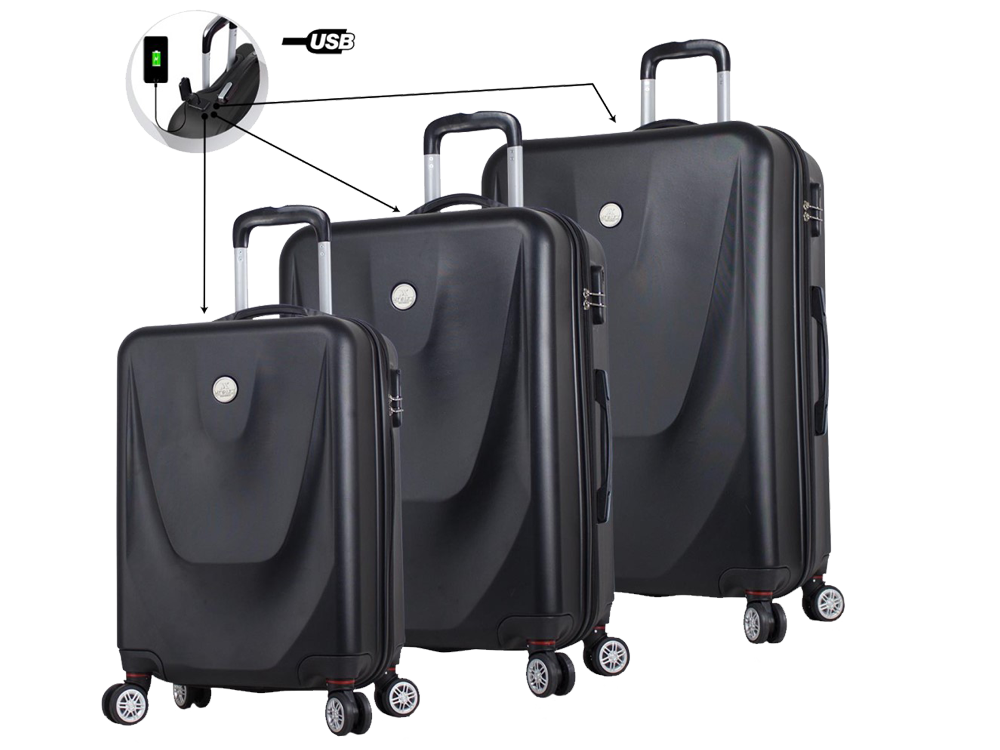 My Valice Smart Bag Energy USB Şarj Girişli 3'lü Abs Valiz Seti