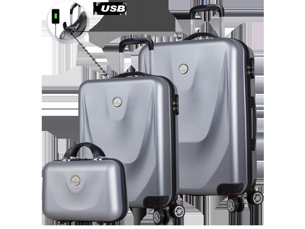My Valice Smart Bag Energy USB Şarj Girişli 3'lü Valiz Seti (Kabin, Orta ve Makyaj)