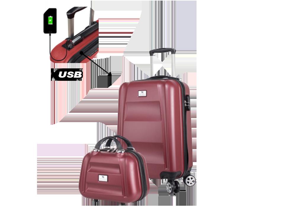 My Valice Smart Bag Exclusive USB Şarj Girişli 2'li Valiz Seti (Kabin, Orta ve Makyaj)