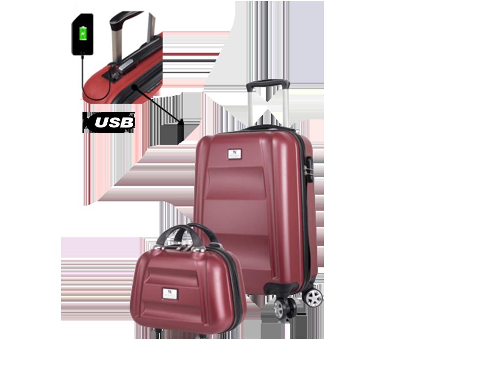 My Valice Smart Bag Exclusive USB Şarj Girişli 2'li Valiz Seti (Kabin ve Makyaj)