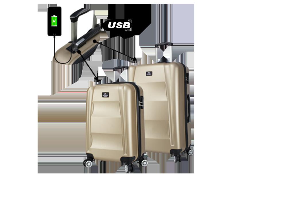 My Valice Smart Bag Exclusive USB Şarj Girişli 2'li Valiz Seti (Kabin ve Orta)