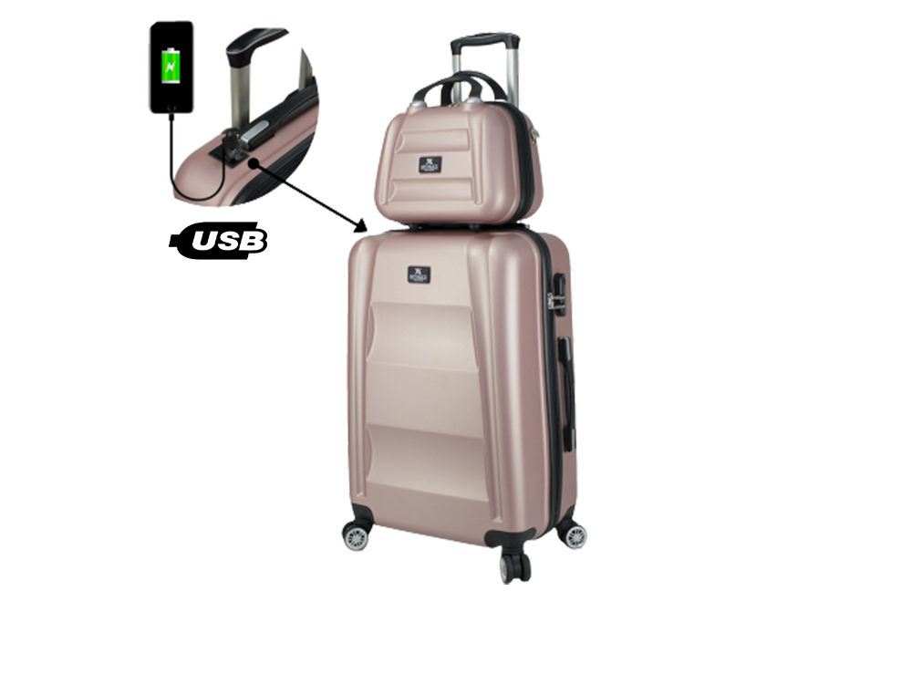 My Valice Smart Bag Exclusive USB Şarj Girişli 2'li Valiz Seti (Orta ve Makyaj)