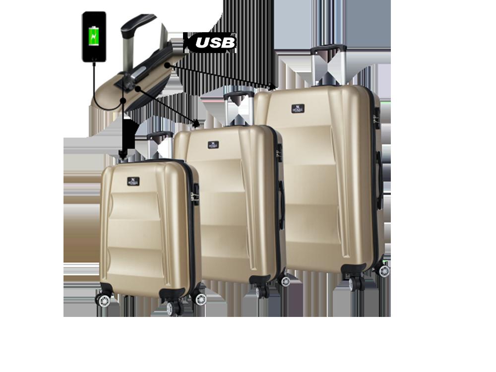 My Valice Smart Bag Exclusive USB Şarj Girişli 3'lü Valiz Seti