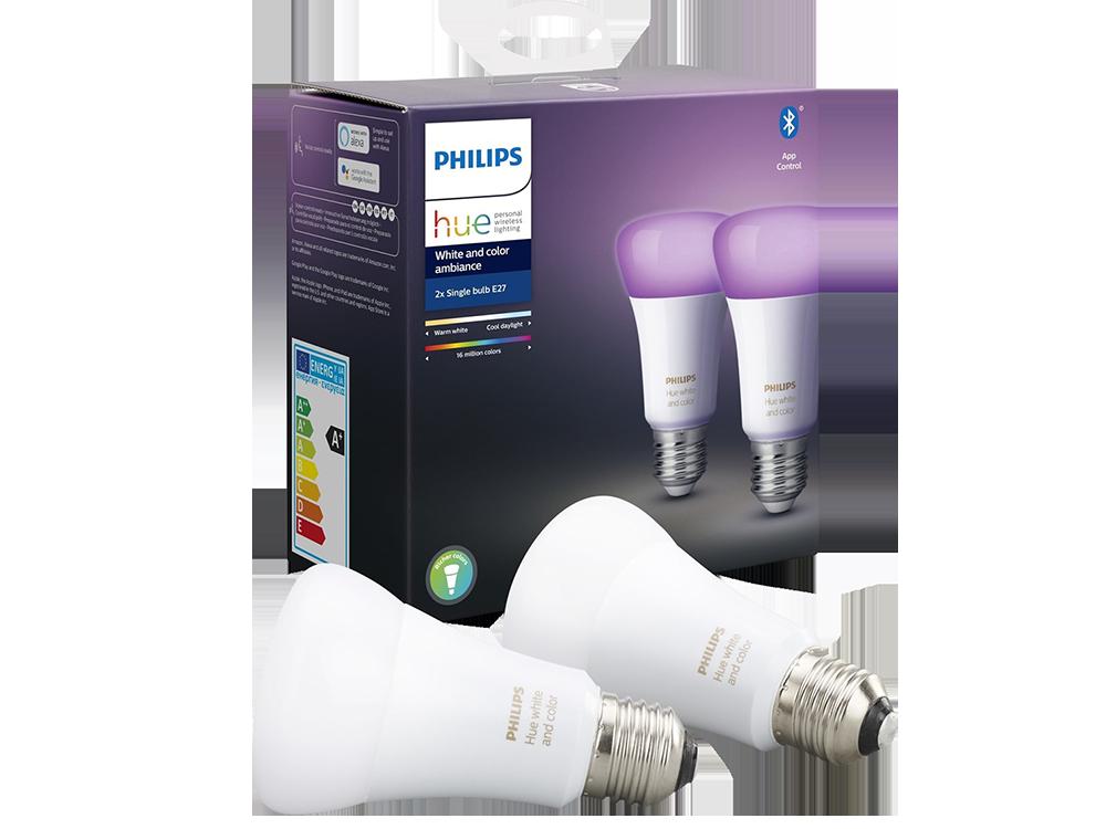 Philips Hue Renkli Akıllı Ampul 2'li Eko Paket E27 Bluetooth Özellikli