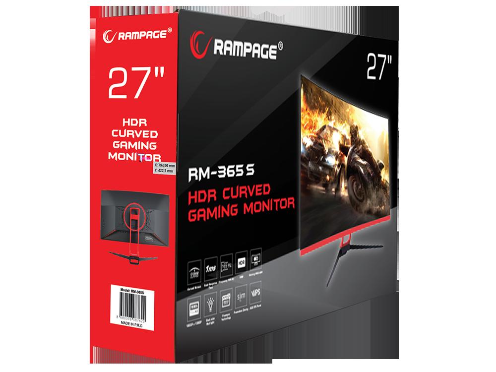 Rampage RM-365S 27 inç LED 165 Hz Freesync Technology+HDR PC Curved Oyuncu Monitörü