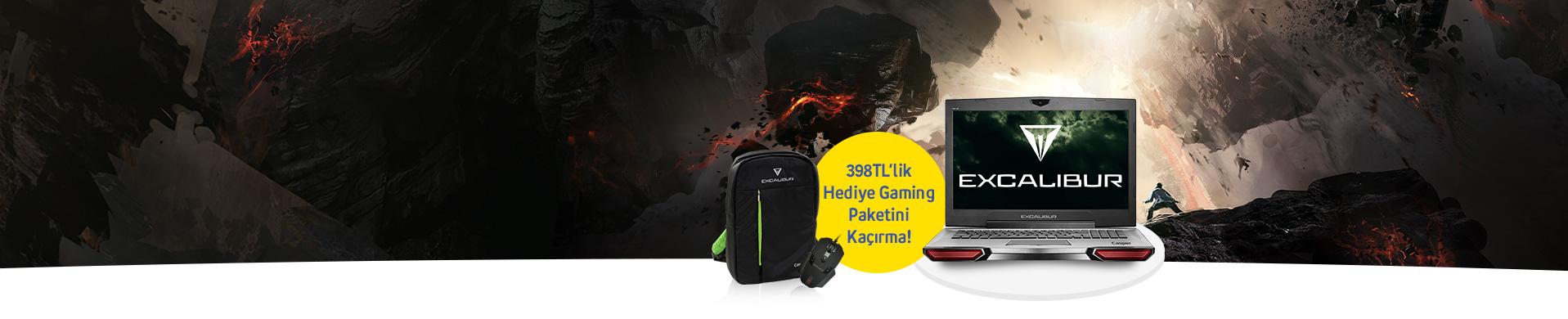 """Excalibur ile 2018 Senin Oyun Yılın Olsun Her oyunda yüksek performans sunan Excalibur şimdi 17.3"""" Gaming sırt çantası ve Gaming GX6 mouse hediyesi ile turkcell.com.tr'de."""