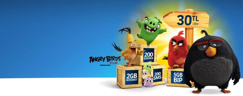 Angry Birds Hediyeli İlk Hat - Çocuğunuzun ilk hattı 200 dakika konuşma, 200 SMS, 2 GB internet, 5 GB BiP ve Angry Birds hediyesiyle ayda sadece 30TL'ye Turkcell Mağazalarında!