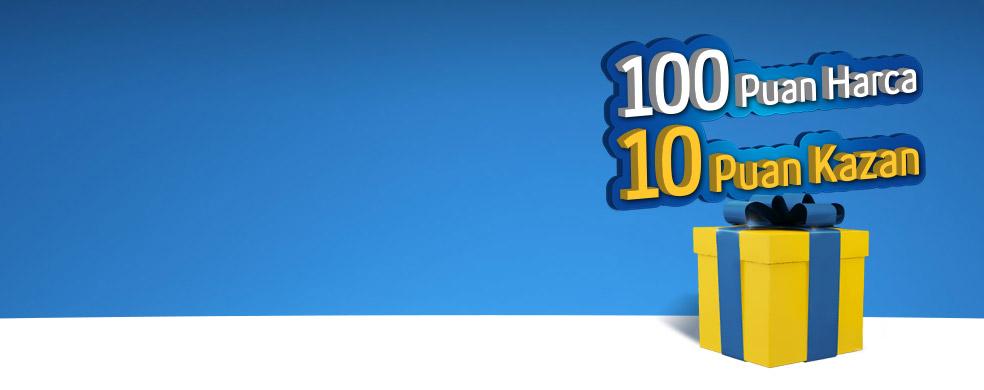 Sarı Kutu Harcadıkça Kazandırıyor Sarı Kutu'da tek seferde harcanan her 100 puana 10 puan hediye!