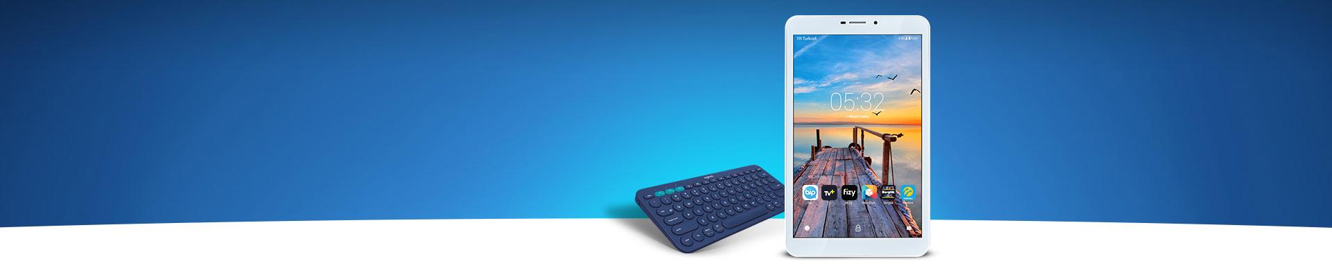 Hediyeli Tablet Kampanyası turkcell.com.tr'den tablet alan herkese kablosuz klavye ve ekran koruyucu hediye!