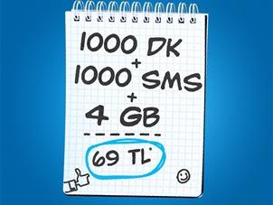 İnterneti Bol 1000 dk 4 GB 1000 SMS Kampanyası
