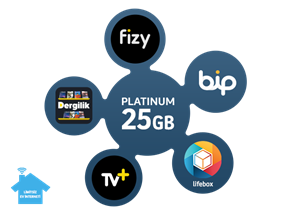 Dört Dörtlük Paketler Platinum 25 GB