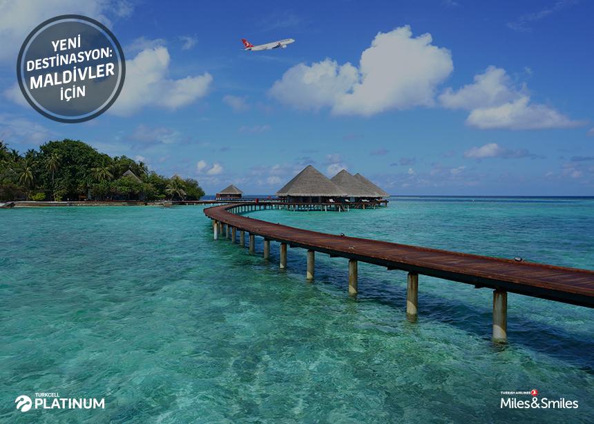 Maldivler biletiniz için 60.000 Mil ve Vergiler Bizden