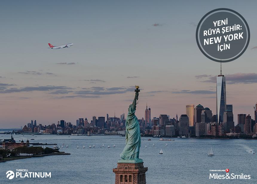 New York biletiniz için 60.000 Mil ve Vergiler Bizden