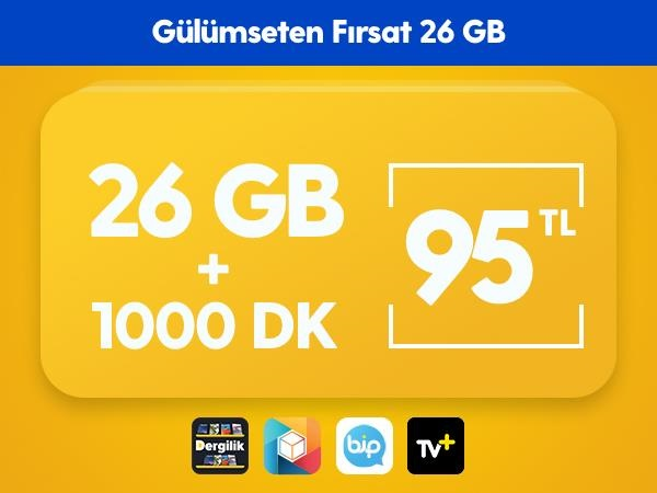 Gülümseten Fırsat 26 GB Paketi