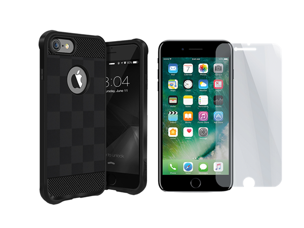 Buff iPhone 7 Plus/8 Plus Black Armor Koruma İkili Set