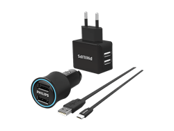 Philips DLP2553EM Micro USB 2li Seyahat ve Araç Şarjı