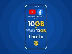 Satın Al Youtube&Facebook Paketi 10GB+10 GB Hafta Sonu Hediyeli