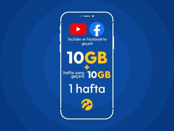 Youtube&Facebook Paketi 10GB+10 GB Hafta Sonu Hediyeli