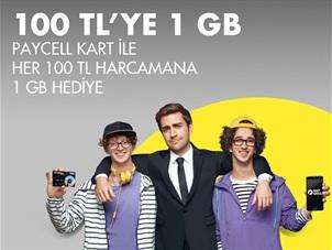 Paycell Kart ile her 1 TL Harcamana 5 MB Kazan