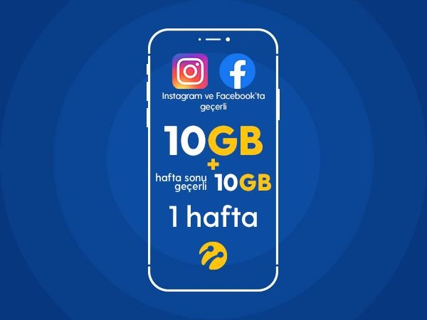 Instagram&Facebook Paketi 10GB+10 GB Hafta Sonu Hediyeli